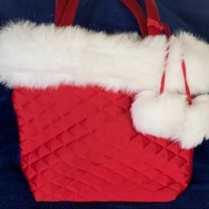Handbags - Ms. Santa Quilted Purse with Faux Fur Pom Pom